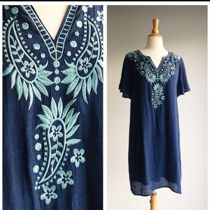 THML Embroidered Blue Boho Dress